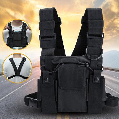 3 Pocket Harness Nylon Bag Chest Pack Backpack For Radio Walkie Talkie Holster