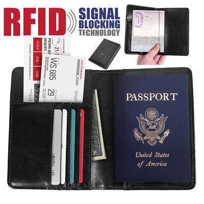 Mens Leather Wallet Purse Credit Card Passport Holder RFID Blocking Anti Scan US