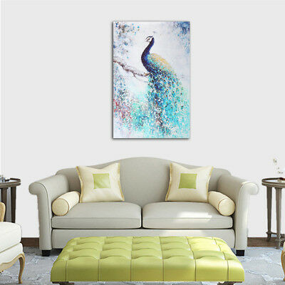 Unframed Print Modern Abstract Peacock Printing On Canvas Art Picture Home (Abstract Decorative Art)