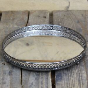Silver Effect Mirror Tealight Candle Plate Tray 20Cm