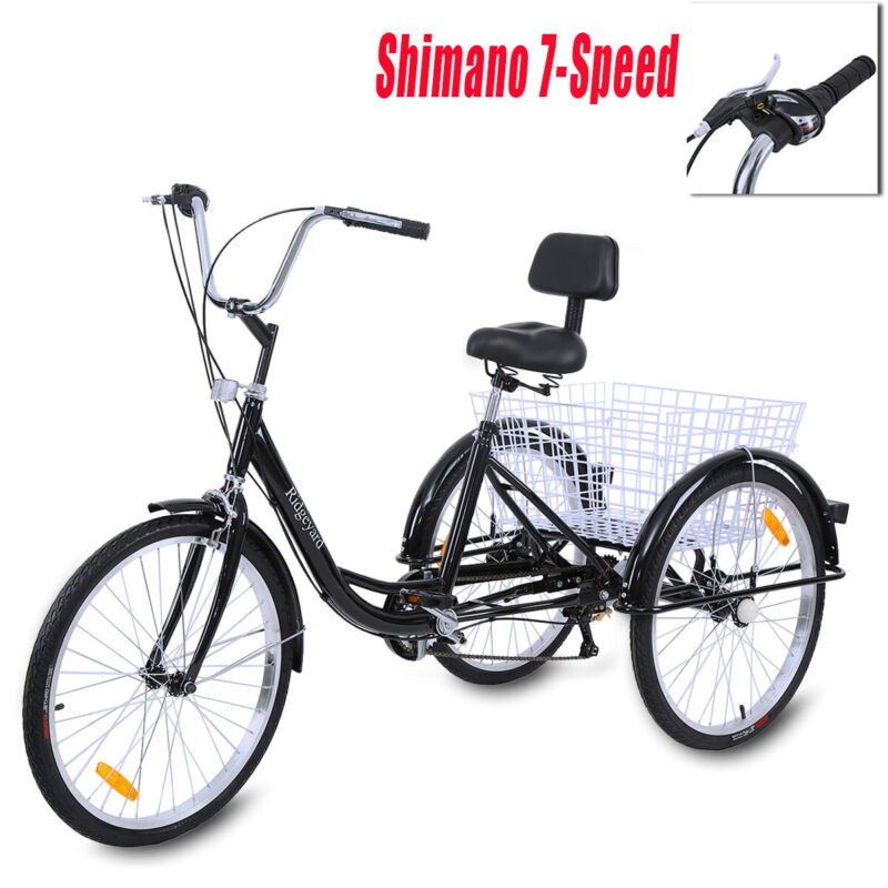 "Ridgeyard 26"" 3-Wheel Shimano 7-Speed Adult Tricycle Trike B"
