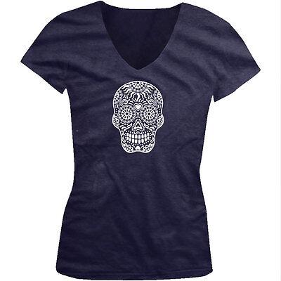 Skull Floral Sugar Outline Heart Dia De Los Muertos Day Juniors V-Neck T-Shirt