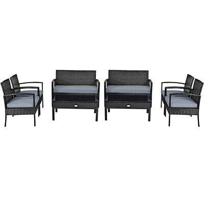 Garden Furniture - 8PCS Outdoor Patio Rattan Furniture Set Cushioned Sofa Coffee Table Garden Deck