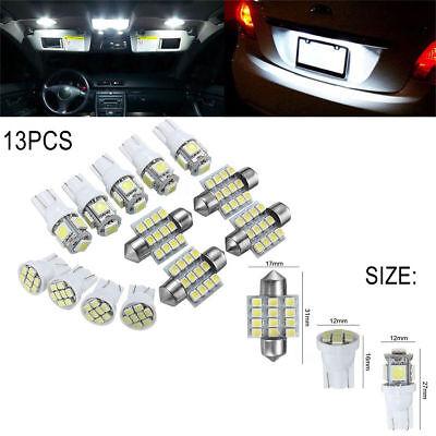 13Pcs Car White LED Lights Kit for Stock Interior & Dome & License Plate Lamps