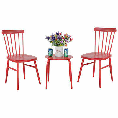 Garden Furniture - 3PCS Patio Table Chairs Furniture Set  Bistro Garden Lawn Pool Side Steel Red