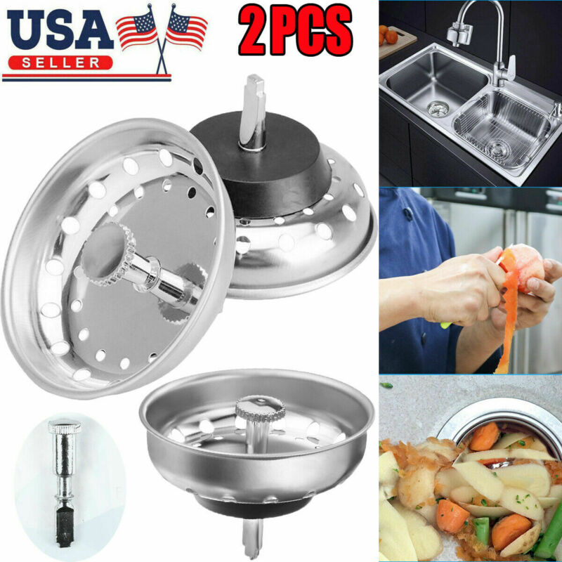 2 Pack Kitchen Sink Strainer Stopper Stainless Steel Drain Basket Waste Plug USA