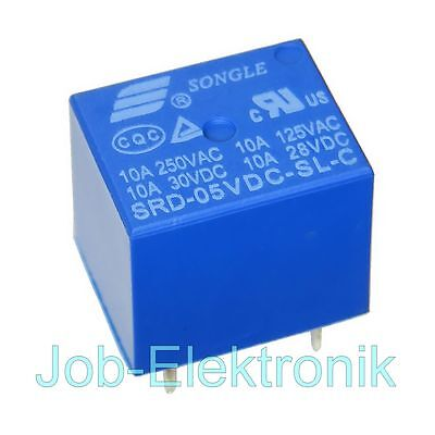 Miniatur Print Relais 5V 1-Wechsler 1xUM 10A/250V Songle SRD-05VDC-SL-C