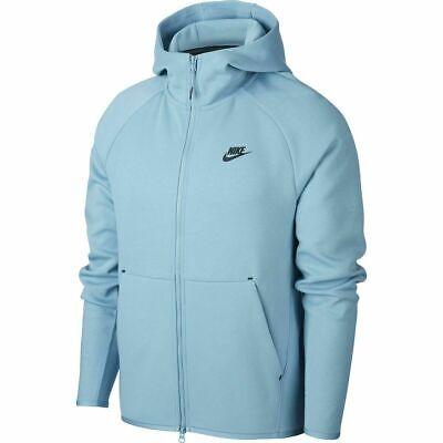Nike Men Tech Fleece Cerulean Blue Hoodie Full Zip Size XXL 928483-424