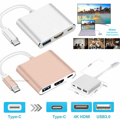 Type C USB 3.1 to USB-C 4K HDMI USB 3.0 Adapter Cable 3 in 1 Hub For Macbook Pro