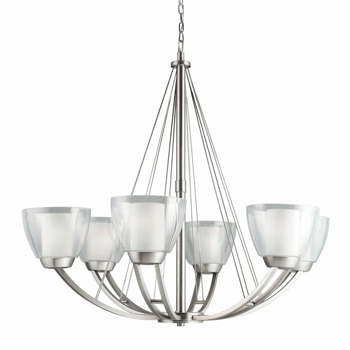 1999ni 6 light lucia large chandelier brushed