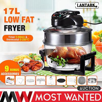LANTARK Multifunction Low Fat Air Fryer 1300W 17L Halogen Convection Oven Cooker