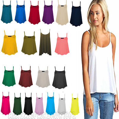 WOMENS NEW LADIES PLAIN SWING CAMI VEST SLEEVELESS TOP STRAPPY PLUS SIZE FLARED