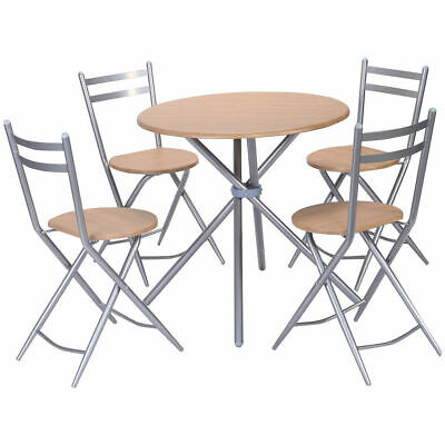 5 PCS Folding Round Table Chairs Set Furniture Kitchen Living - Living Room Set Folding Table