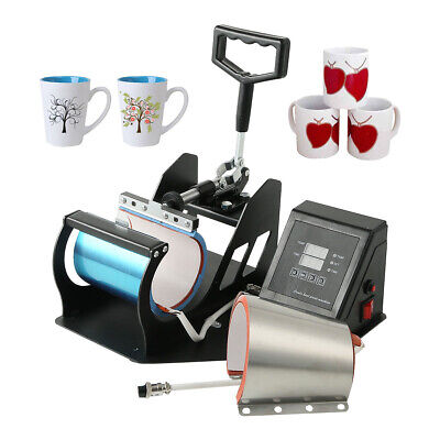 2 In 1 Coffee Mug Sublimation Heat Press Transfer Machine Cup Printer 11oz 12oz