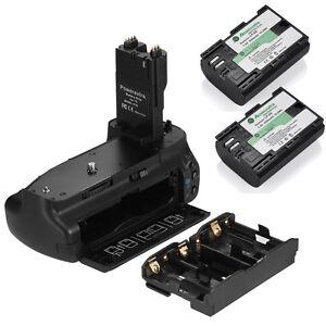 BG-E7 Battery Grip For Canon EOS 7D DSLR Camera + 2 LP-E6 Battery Packs