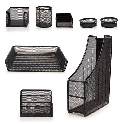8pc Computer Desk Organizer Set Mesh Office Supplies Accessories File Pen Holder