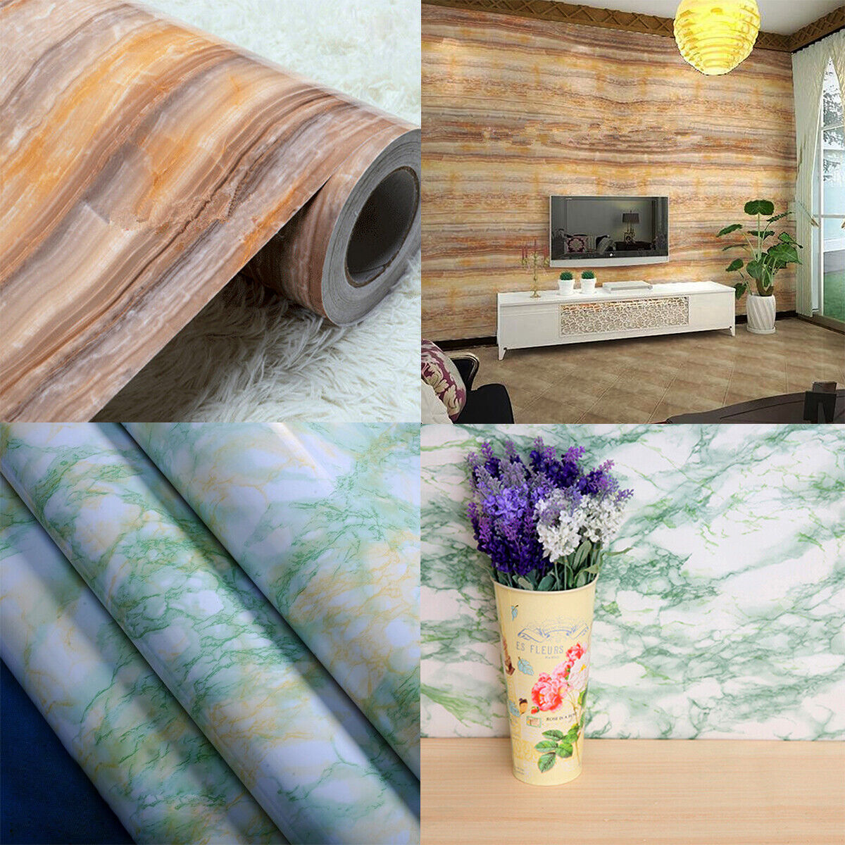 Marble Wallpaper Self Adhesive Wall Stickers Kitchen Cabinet
