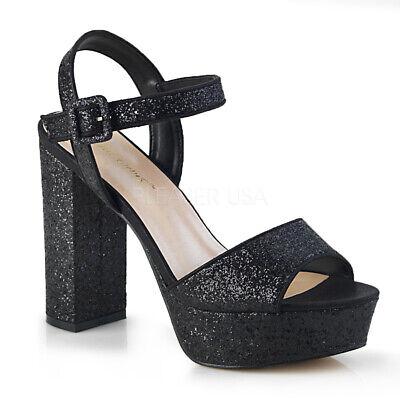 Silver Chunky Platform 70s Disco Gogo Dancer Heels Bridesmaid Shoes 7 8 9 10 11