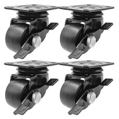 4 Pack 1.5 Low Profile Black W Brake Heavy Duty Polyurethane Casters Wheels