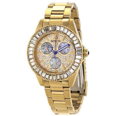 Invicta Angel Quartz Crystal Gold Dial Ladies Watch 28449