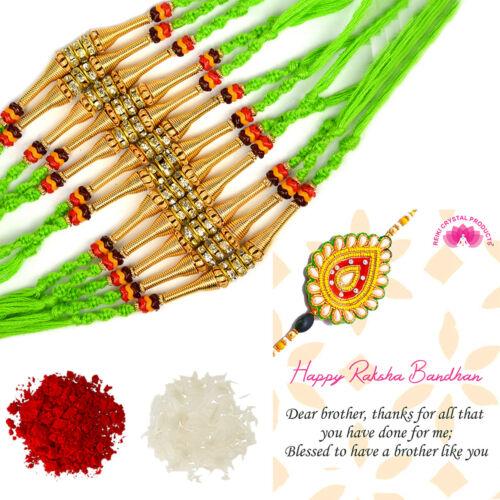 Designer Rakhi Indian Festival Stylish Bracelet Rakhi For Brother Set of 12 Pcs