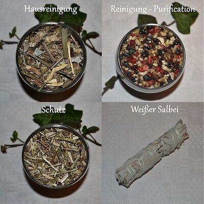 Räuchermischung Set Sortiment REINIGUNG + SCHUTZ - mit Bündel weißer Salbei 30 g