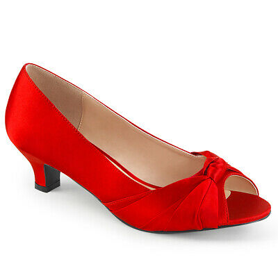 Red Satin Bridesmaid Bridal Wedding Heels Large Size Womans Low Shoes 11 12 13 New Wedding Bridal Womens Shoes