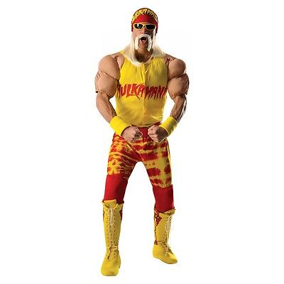Wwe Fancy Dress Adults (Hulk Hogan Costume Adult WWE Wrestling Halloween Fancy)