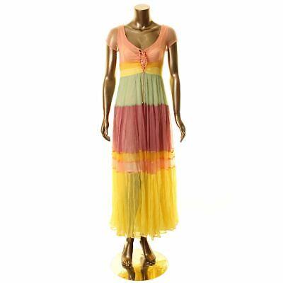 FREE PEOPLE NEW Women's Multi Hocus Pocus Colorblock Sheer Maxi Dress XS TEDO