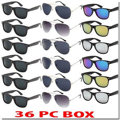 Wholesale Sunglasses Bulk Lot Aviators Wayfare Color Mirror 36 PC Box ALL NEW