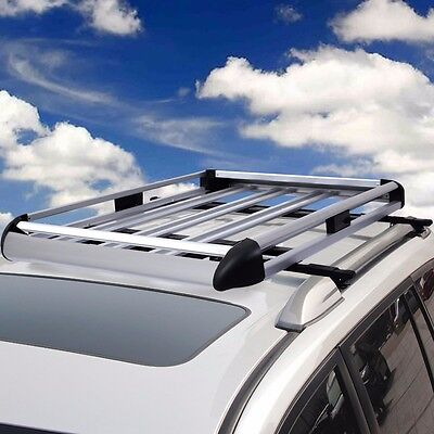 """50""""x38"""" Aluminum Car Roof Cargo Carrier Luggage Basket Rack Top w/Crossbars New"""