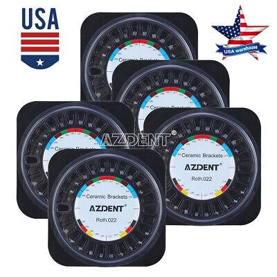 5 Kits Azdent Dental Orthodontic Ceramic Bracket Braces Roth .022 Hooks 3-4-5