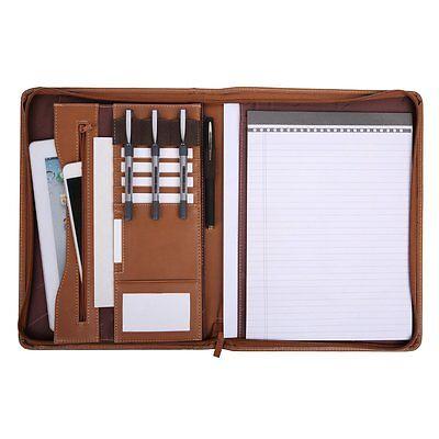 Organizer File Folder Padfolio Writing Pad Business Resume Portfolio Brown Notax