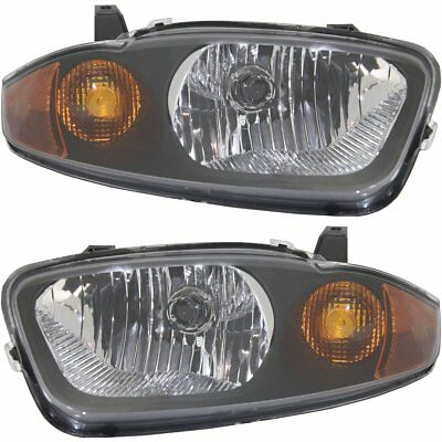 Halogen Headlight Set For 2003 2005 Chevy Cavalier Left  Right w Bulbs Pair