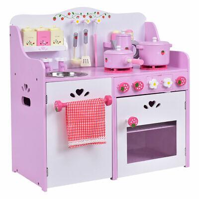 Wooden Kitchen (New Kids Wooden Play Set Kitchen Toy Strawberry Pretend Cooking Playset)