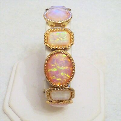 Textured Goldtone Oval Rectangular White Pink Iridescent Cabochon Panel Bracelet