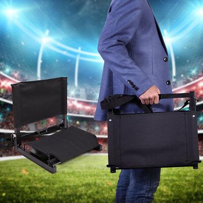 Portable Folding Cushion Chair Wide Stadium Bleacher Seat Black Lightweight