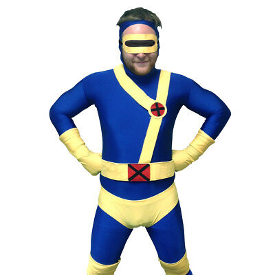 Lycra Spandex Bodysuit Kostüme (Cyclops Adult Costume Body Suit X-Men Superhero Spandex Body Suit Mens Lycra)