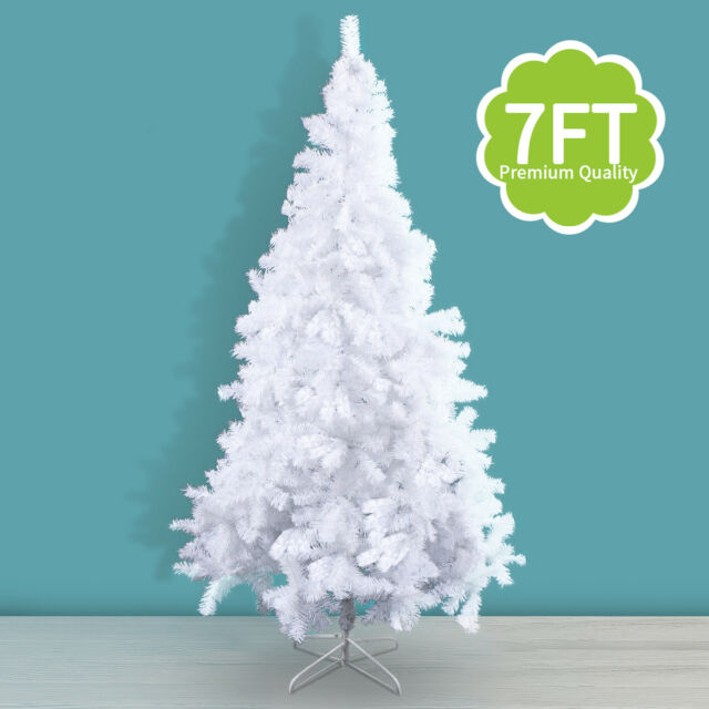 White Artificial PVC Christmas Tree 7ft W/stand Holiday Season ...