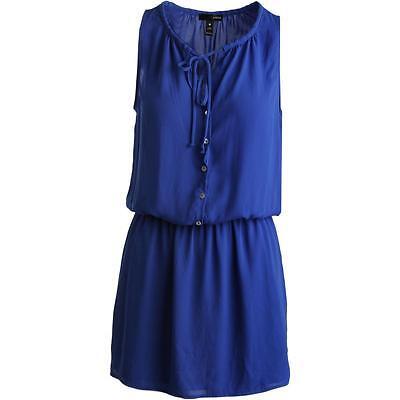 Aqua Womens Blue Striped Button-Down Mini Casual Dress XS BHFO 6069