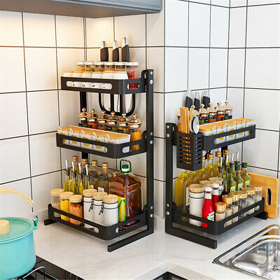 Stainless Steel 3/2 Tier Spice Rack Kitchen Jars Bottle Shelf Storage Organizer