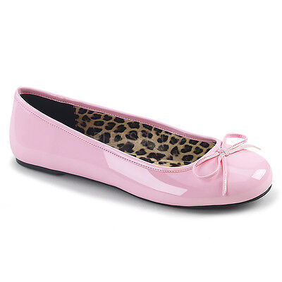 PLEASER Baby Pink Patent Ballet Flats Women's Shoes Large SIZES ANNA01/BP