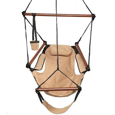 Hammock Hanging Chair Air Deluxe Sky Swing Outdoor Chair Solid Wood 250lb Brown