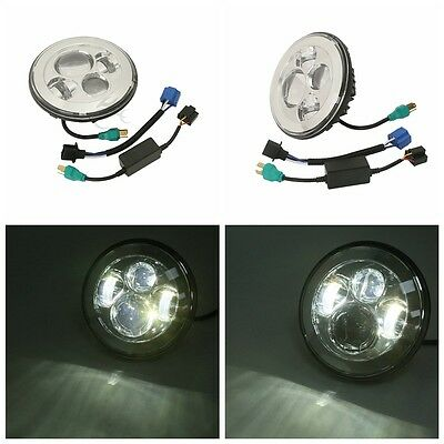 """7"""" Chrome Round Projector Daymaker HID Hi/Lo LED Headlight For Harley Motorcycle"""