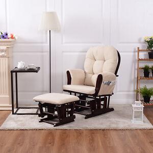 Baby Nursery Relax Rocker Rocking Chair Glider U0026 Ottoman Set W/ Cushion  Beige