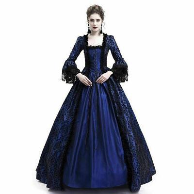 Vintage Female Long Sleeve Medieval Renaissance Long Dress Cosplay Costumes
