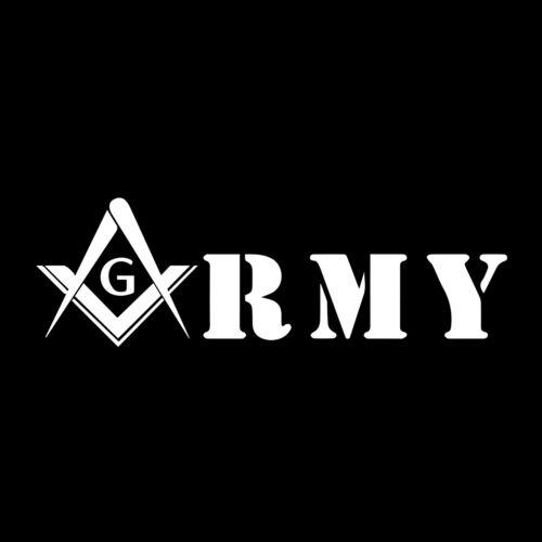 United States Army Square & Compass Masonic Vinyl Decal - White 6 Inch