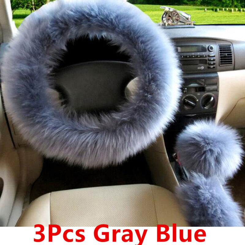 Gray Blue Wool Winter Furry Fluffy Thick Faux  Car Steering Wheel Cover 3Pcs