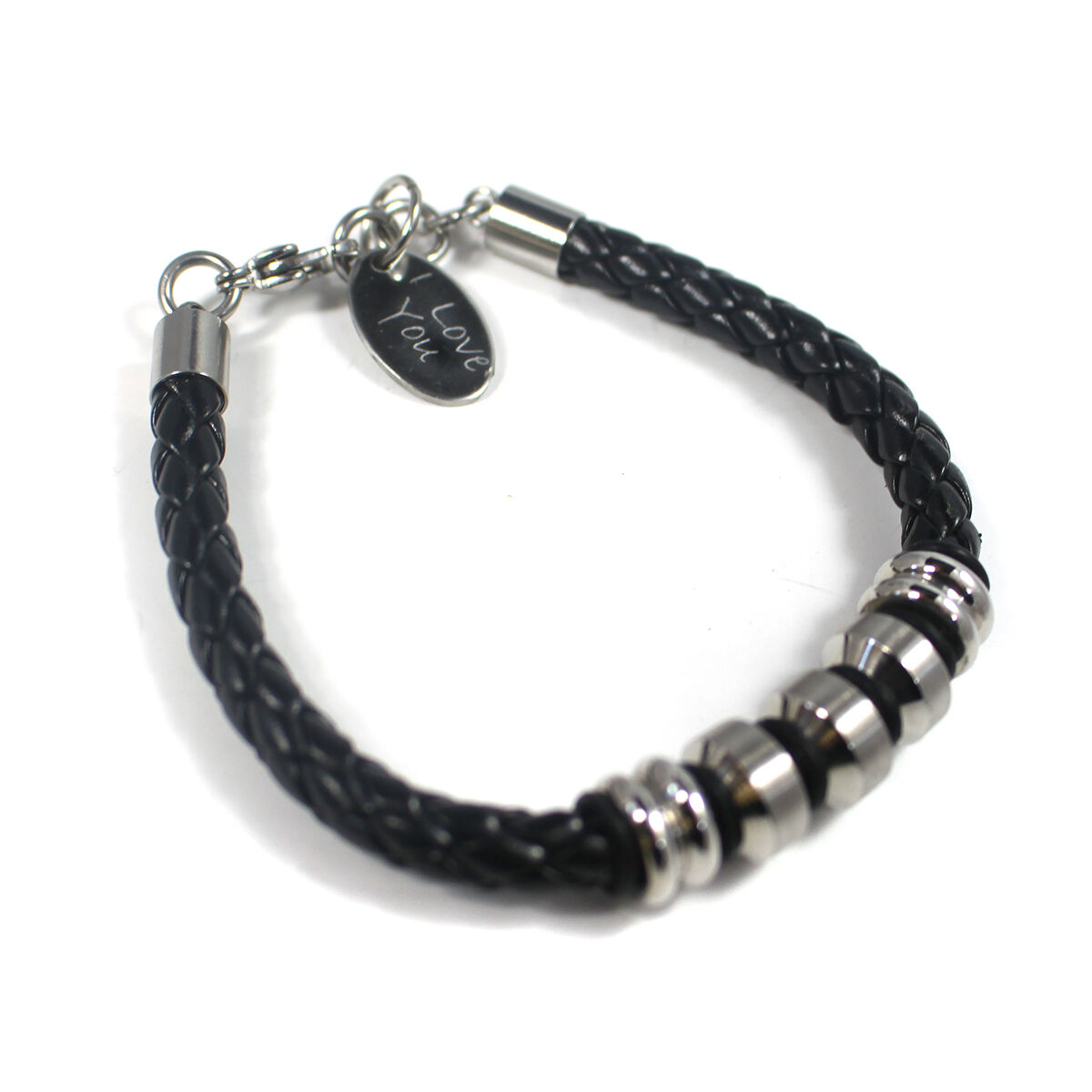 Engraved Charms For Bracelets: MENS LEATHER STEEL BRACELET WITH ENGRAVED CHARM