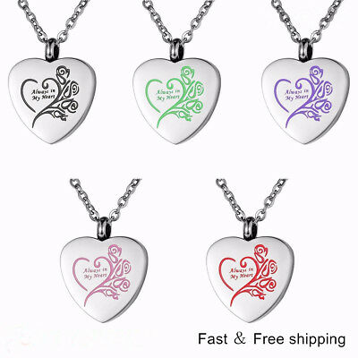 Cremation Keepsake - Always in My Heart Cremation Jewelry Keepsake Memorial Ash Urn Holder Necklace